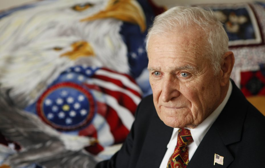 World War II veteran Stanley M. Bolas, of West Seneca, served in the U.S. Marine Corps from 1940 to 1945.  During the war he spent time in Iceland before island hopping in the Pacific.  (Derek Gee / Buffalo News)