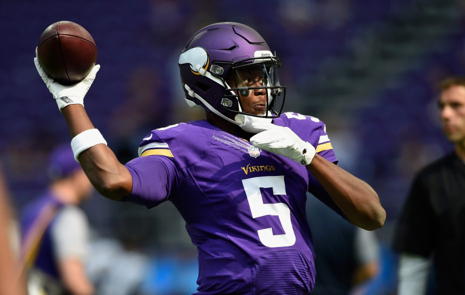 """Vikings QB Teddy Bridgewater, 25, said following the NFC Championship game – for which he was inactive behind Case Keenum and Sam Bradford – that he """"definitely"""" views himself as a starting quarterback. (Hannah Foslien/Getty Images)"""