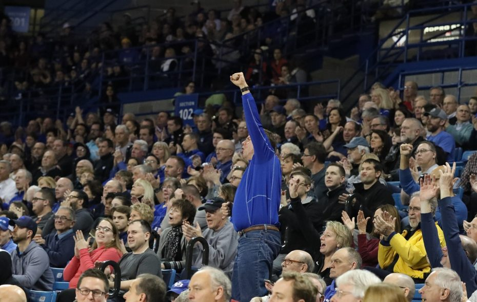 UB fans had plenty to cheer about during Tuesday's game. The prize for a fan sinking a half-court shot was not one of them. (James P. McCoy/Buffalo News)