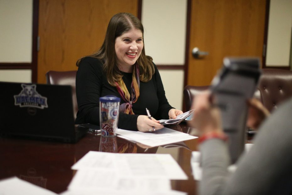 'There's always somebody, somewhere who wants to improve some kind of behavior,' says Vicki Madaus Knapp, left, director of the new Applied Behavior Analysis Program, with her colleague, Vanessa B. Patrone, as they discuss the program curriculum at the Thomas Reynolds Center for Special Education at Daemen College.  (Derek Gee/Buffalo News)