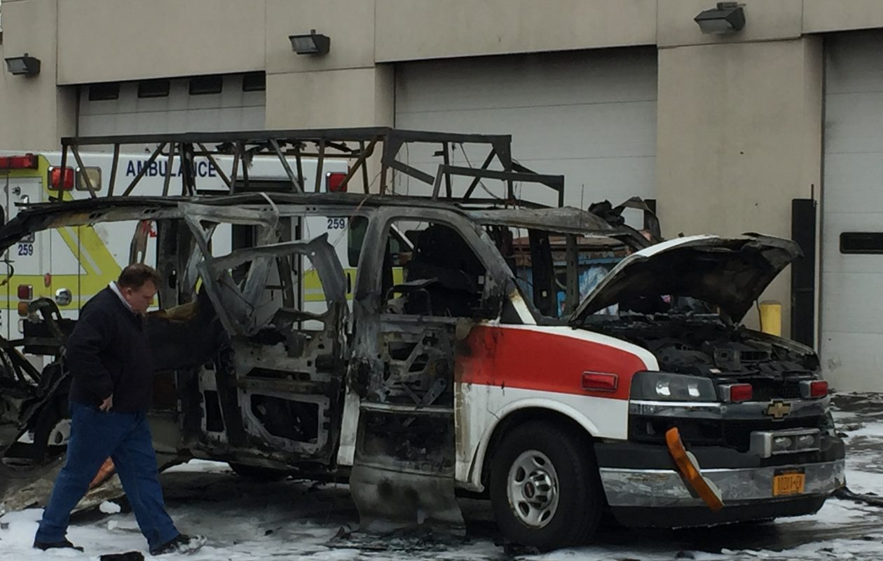 The fire in an ambulance that led to an explosion Tuesday, Feb. 20 in the AMR parking lot in Buffalo likely started accidentally, Buffalo fire officials said Thursday. (Maki Becker/Buffalo News)