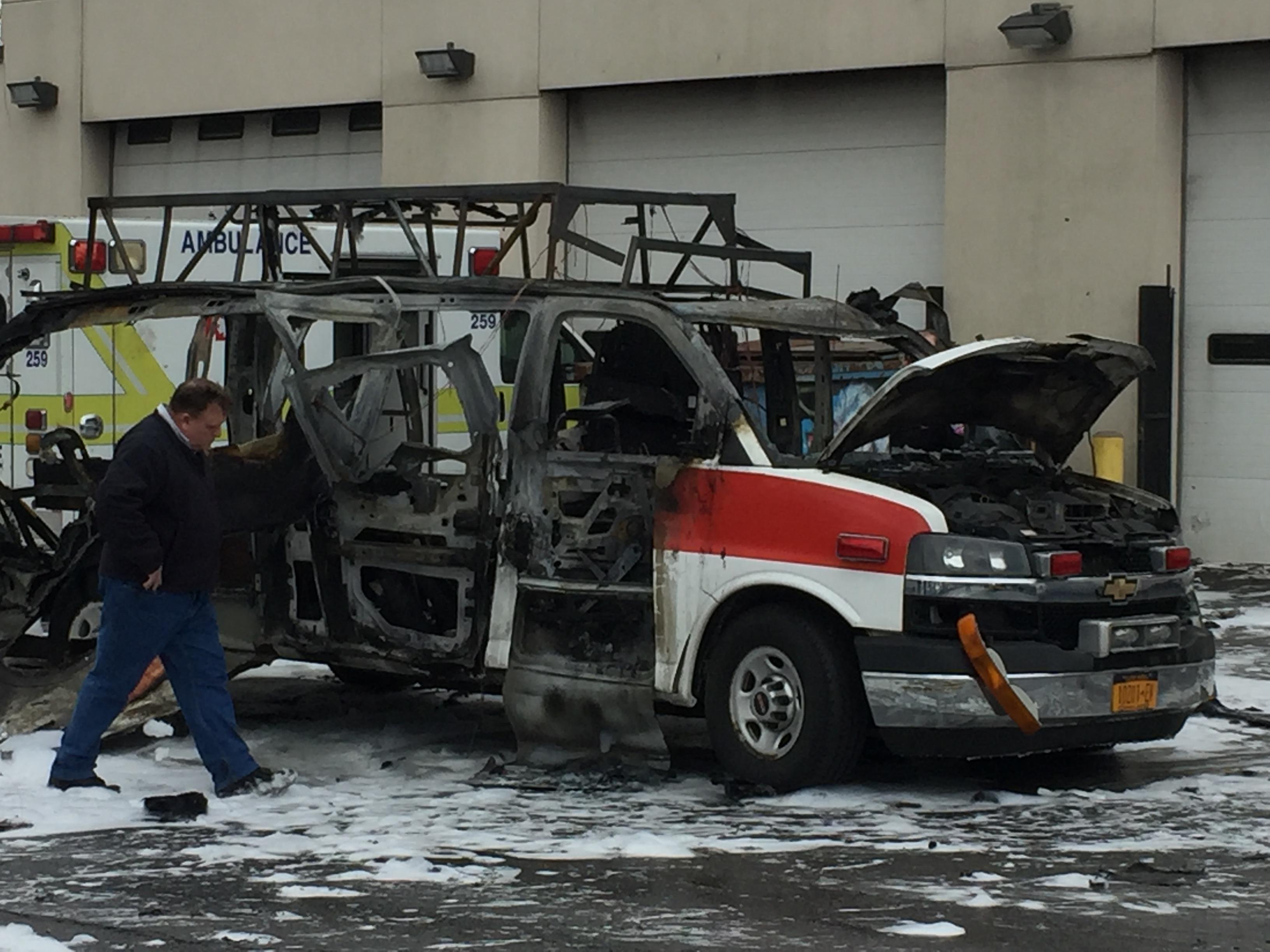 Ambulance fire explodes oxygen tank, sends shrapnel flying at AMR HQ