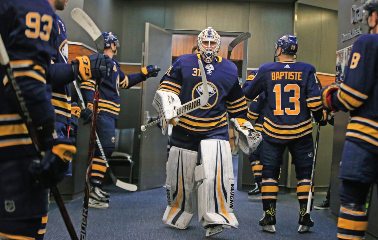 Chad Johnson is in goal for the Sabres against the Bruins. (Harry Scull Jr./Buffalo News)