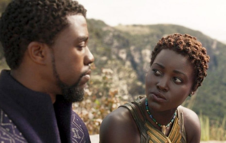 """""""Black Panther"""" - with king T'Challa (Chadwick Boseman) and Nakia (Lupita Nyong'o) - is one of at least 11 superhero films coming in 2018.  Disney-Marvel Studios"""