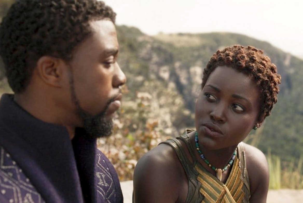 'Black Panther' - with king T'Challa (Chadwick Boseman) and Nakia (Lupita Nyong'o) - is one of at least 11 superhero films coming in 2018.  Disney-Marvel Studios