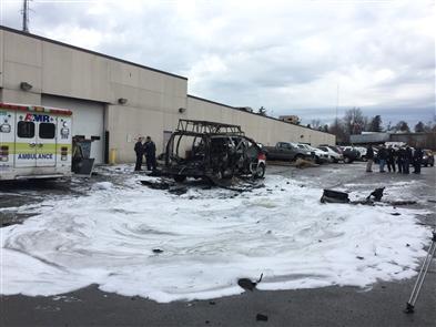 Ambulance fire, oxygen tank explosion at AMR