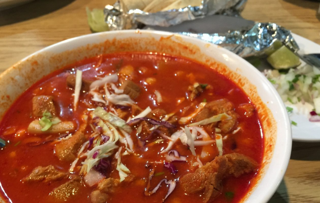 Posole, pork and hominy soup with chile broth, is a weekend special at Juanes. (Andrew Galarneau/Buffalo News)