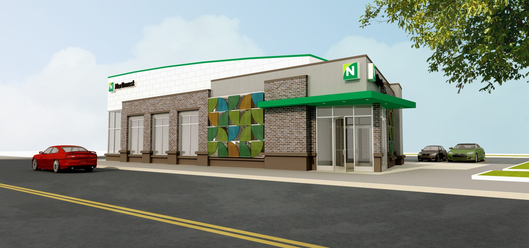 Northwest Bank plans to open a branch on Jefferson Avenue, as shown in this rendering.