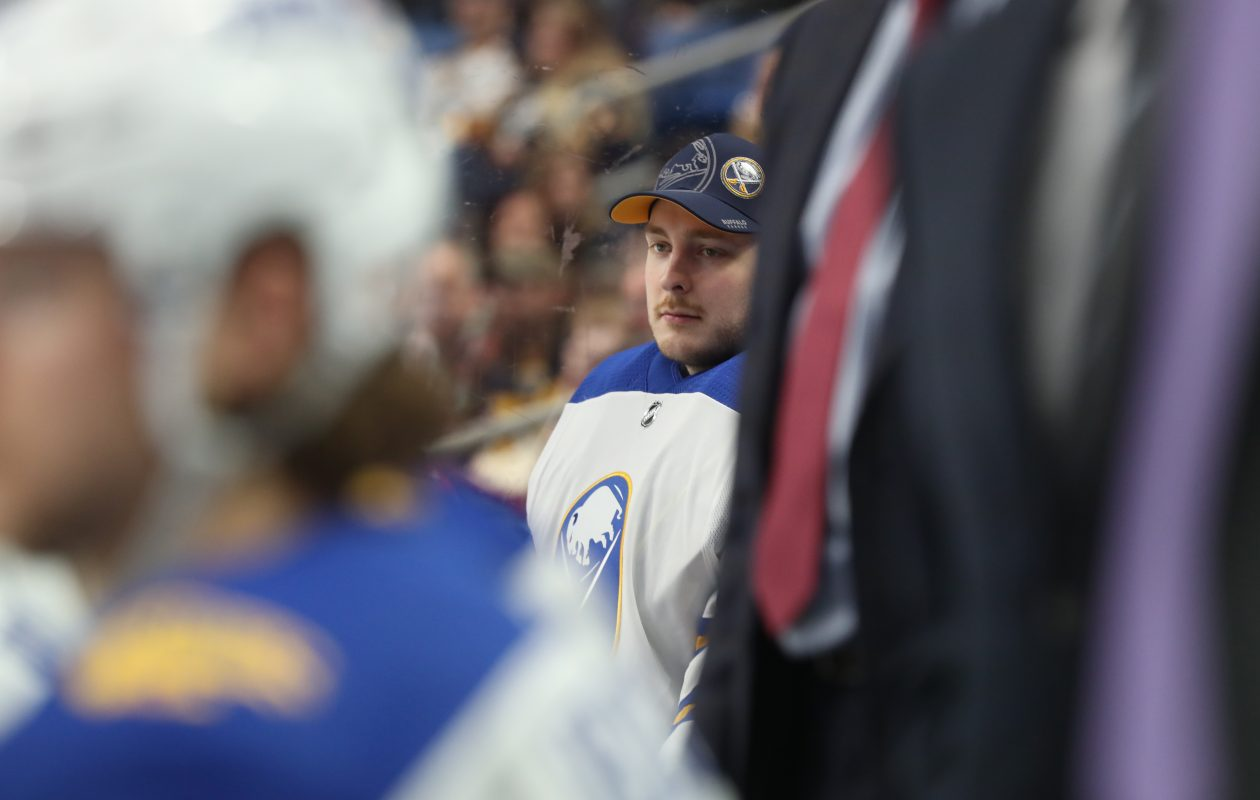 Linus Ullmark served as the Sabres' backup goalie Monday afternoon but returned to Rochester following the game. (James P. McCoy/Buffalo News)