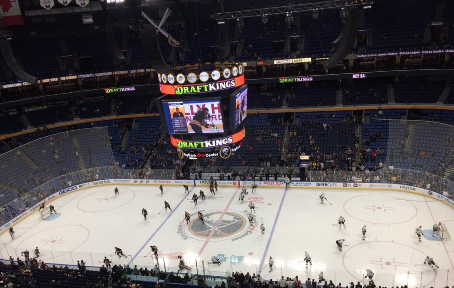 The Buffalo Sabres and Los Angeles Kings warm up. (Mike Harrington/Buffalo News)