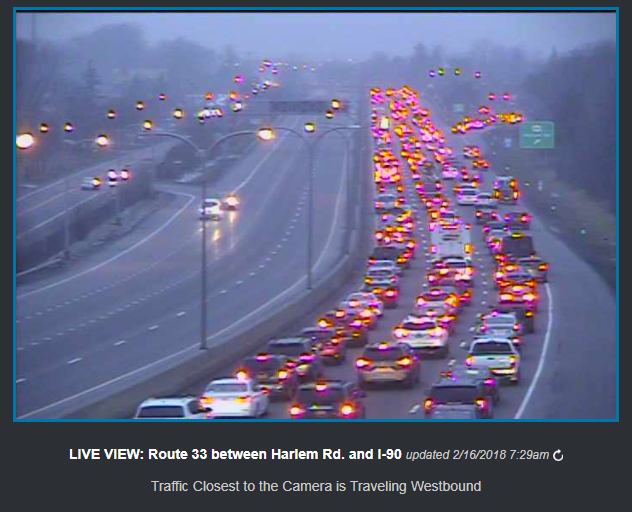 NITTEC traffic cameras show an accident Friday morning on the eastbound 33 has shut down the outbound side beyond Harlem Road and causing heavy congestion on the inbound side. (NITTEC)
