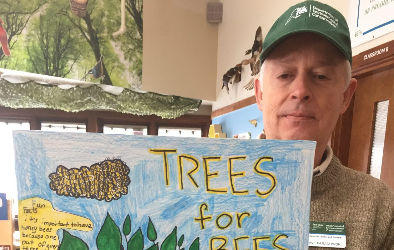 David Paradowski, DEC regional forester, holds  Jaden Campbell's  winning Western New York Arbor Day poster. (Submitted by Region 9 DEC)