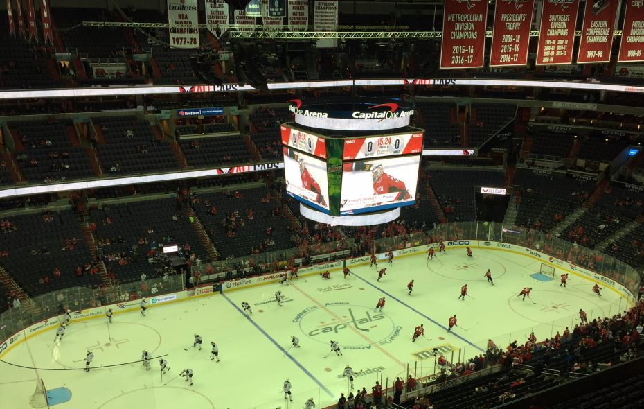 The Sabres and Capitals hit the ice in Capital One Arena (Mike Harrington/Buffalo News).