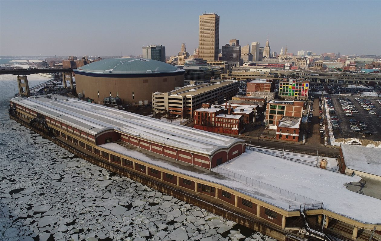 In its bid for the Amazon 2 headquarters, Buffalo offered a sprawling property from the DL&W terminal on the Buffalo River back to the vacant 38-story One Seneca Tower . (Derek Gee/Buffalo News file photo)