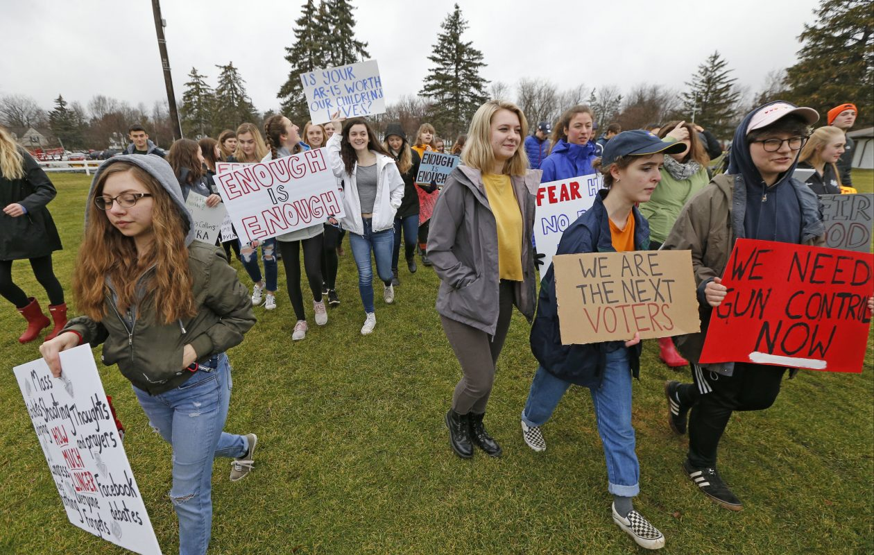 The shooting last month that left 17 dead at Marjory Stoneman Douglas High School in Parkland, Fla., galvanized teenagers around the country.  Last month, students gathered at a Clarence park to protest what they deemed to be inadequate gun-control regulations.  (Robert Kirkham/News file photo)