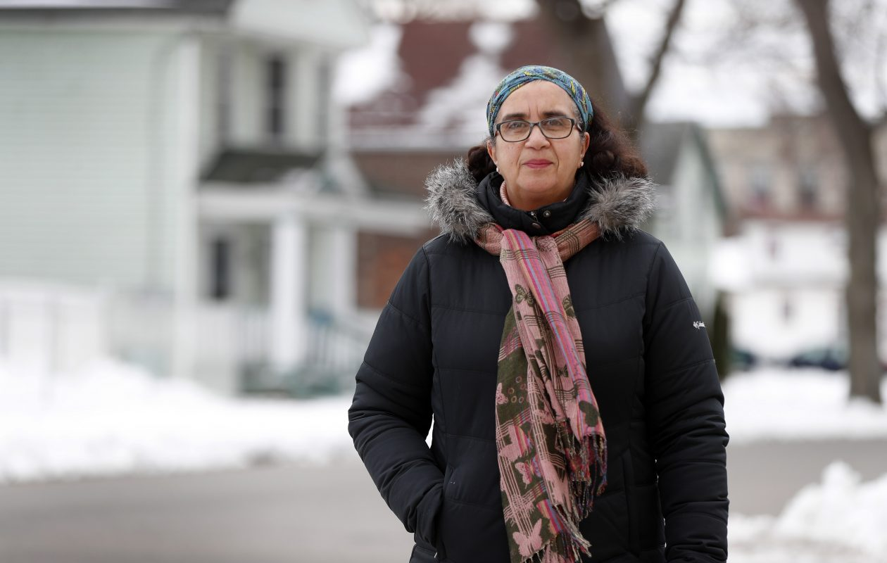 The city is offering for sale vacant lots scattered in the southern and eastern portions of the Fruit Belt.  'We first need to make sure we're picking out the right clusters and have to survey the land,' said Grape Street resident Dennice Barr.  (Mark Mulville/Buffalo News)