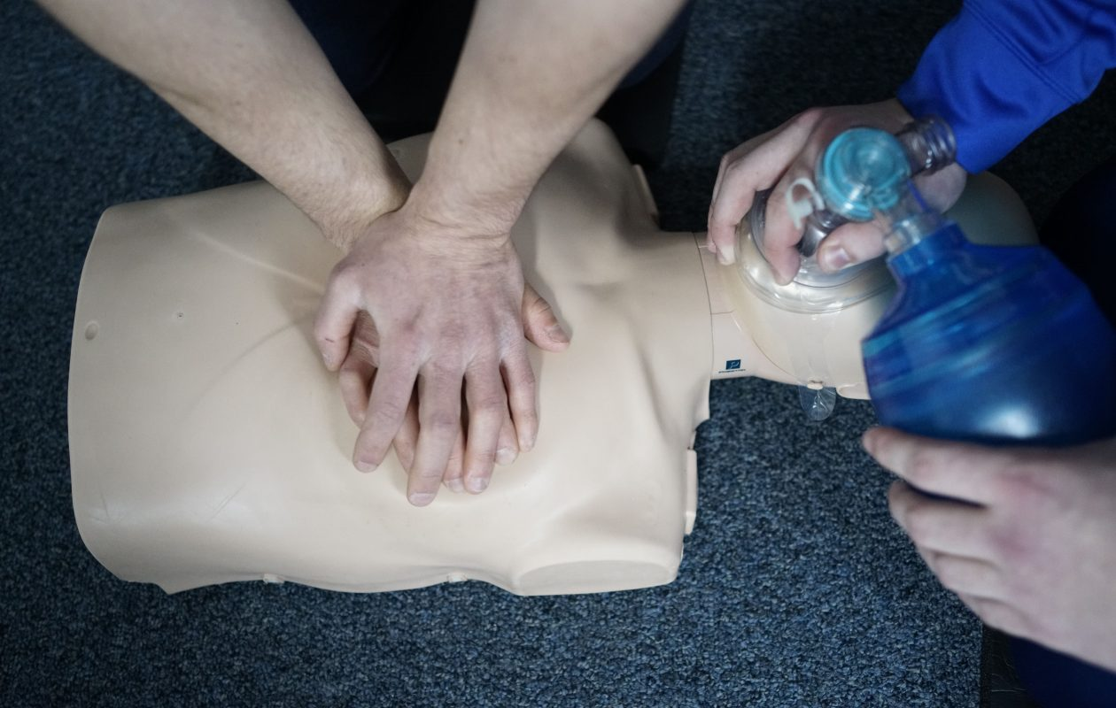 Students practice CPR chest compressions  during a Basic Life Support class at the University at Buffalo.  (Derek Gee/Buffalo News)