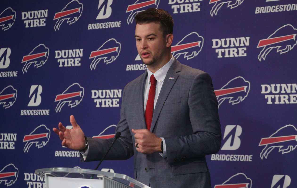 AJ McCarron addresses the media on Thursday, March 15, 2018, after signing with the Buffalo Bills.  (John Hickey/Buffalo News)
