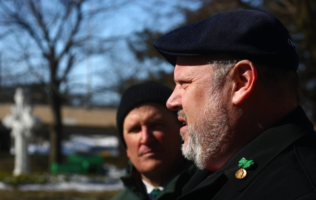 James Faluszczack, right,  talks about abuse he suffered years ago.   Robert Haotson from Road to Recovery Inc. joined Faluszczack and others in calling for the  diocese to release the names of priests who have been accused of sexual abuse. The protest took place outside St. Joseph's Cathedral on Sunday morning in Buffalo. (John Hickey/Buffalo News)