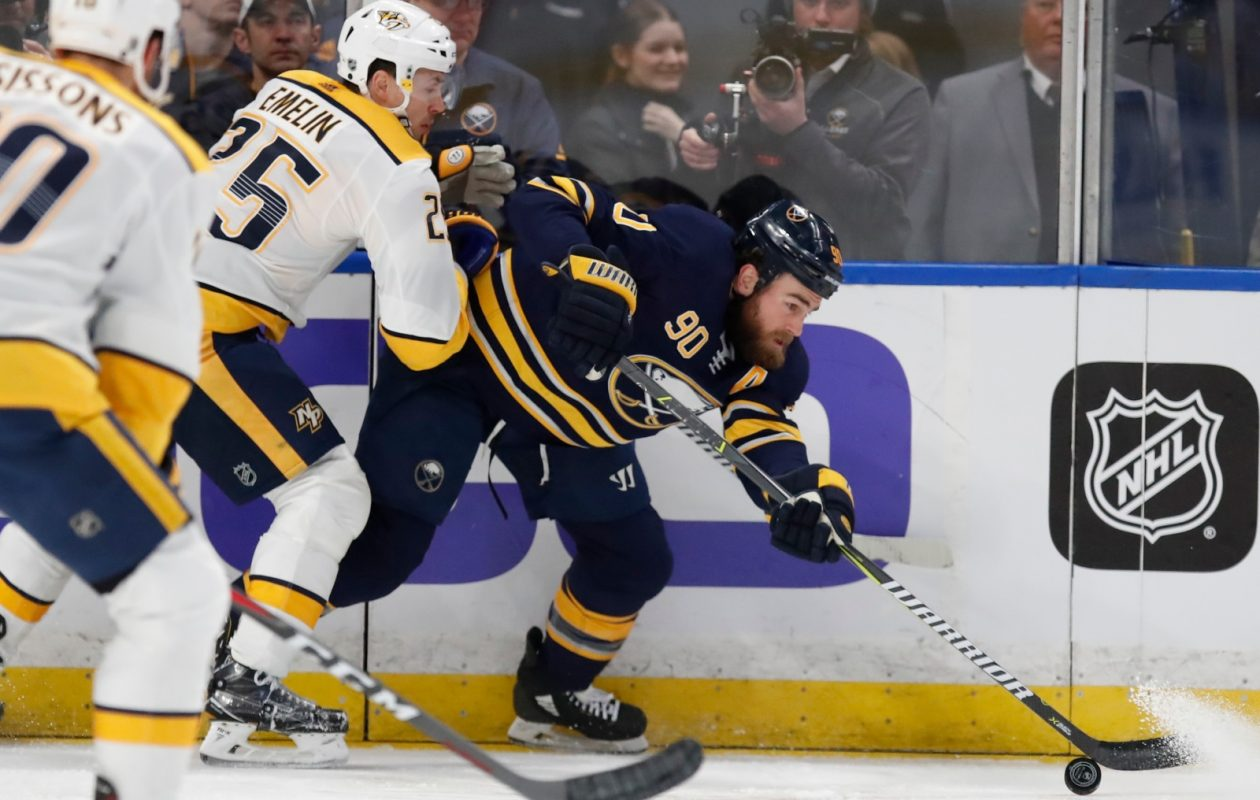 In addition to the Predators' Alexei Emelin, Ryan O'Reilly and the Sabres will have to deal with the Nashville crowd. (Harry Scull Jr./Buffalo News)