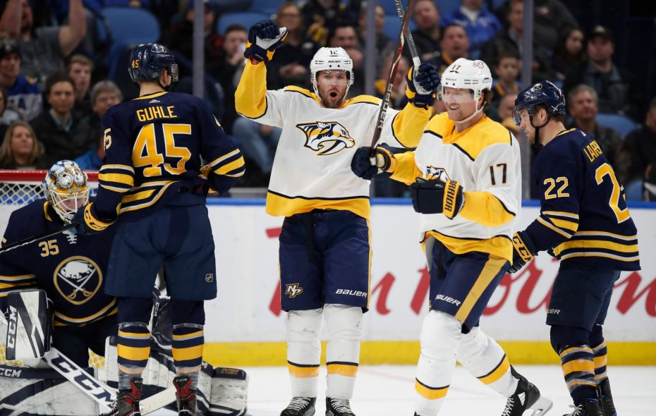 Nashville's Mike Fisher (12) celebrates his goal, but Sabres coach Phil Housley insists it should not have counted. (Harry Scull Jr./Buffalo News)