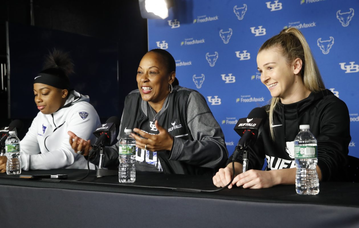 UB women's basketball shooting guard Cierra Dillard, coach Felisha Legette-Jack and senior point guard Stephanie Reid meet with the media at Alumni Arena on Tuesday, March 20, 2018. (Harry Scull Jr./Buffalo News)