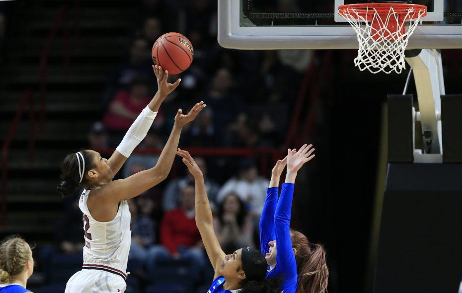 Star forward A'Ja Wilson rises above UB defenders during the second half South Carolina's regional semifinal win over Buffalo. (Harry Scull Jr./ Buffalo News)