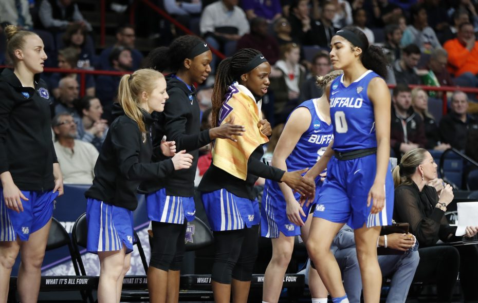 When Summer Hemphill (0) fouled out, it changed the game for Buffalo. (Harry Scull Jr./ Buffalo News)