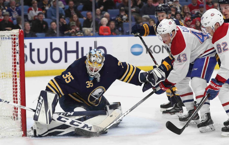 Sabres goaltender Linus Ullmark is 1-2 with a .935 save percentage in five appearances this season. (James P. McCoy/Buffalo News)