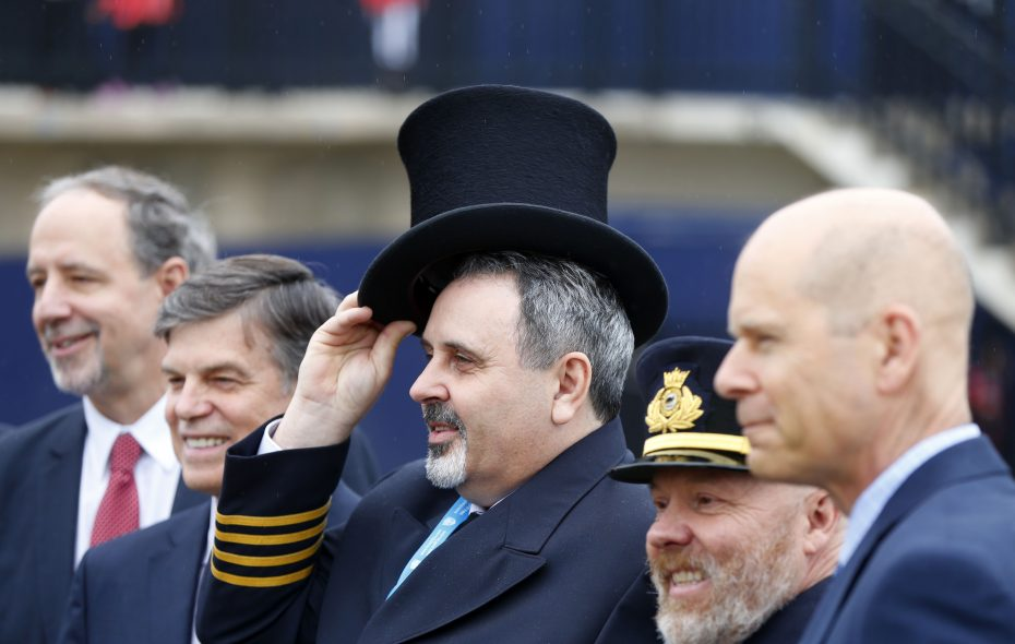Capt. Chesley Thorne of the Algoma Niagara poses for a photo with other dignitaries after the annual Top Hat Ceremony at the St. Catharines Museum and Welland Canals Centre on Thursday, March 29, 2018.   (Mark Mulville/Buffalo News)