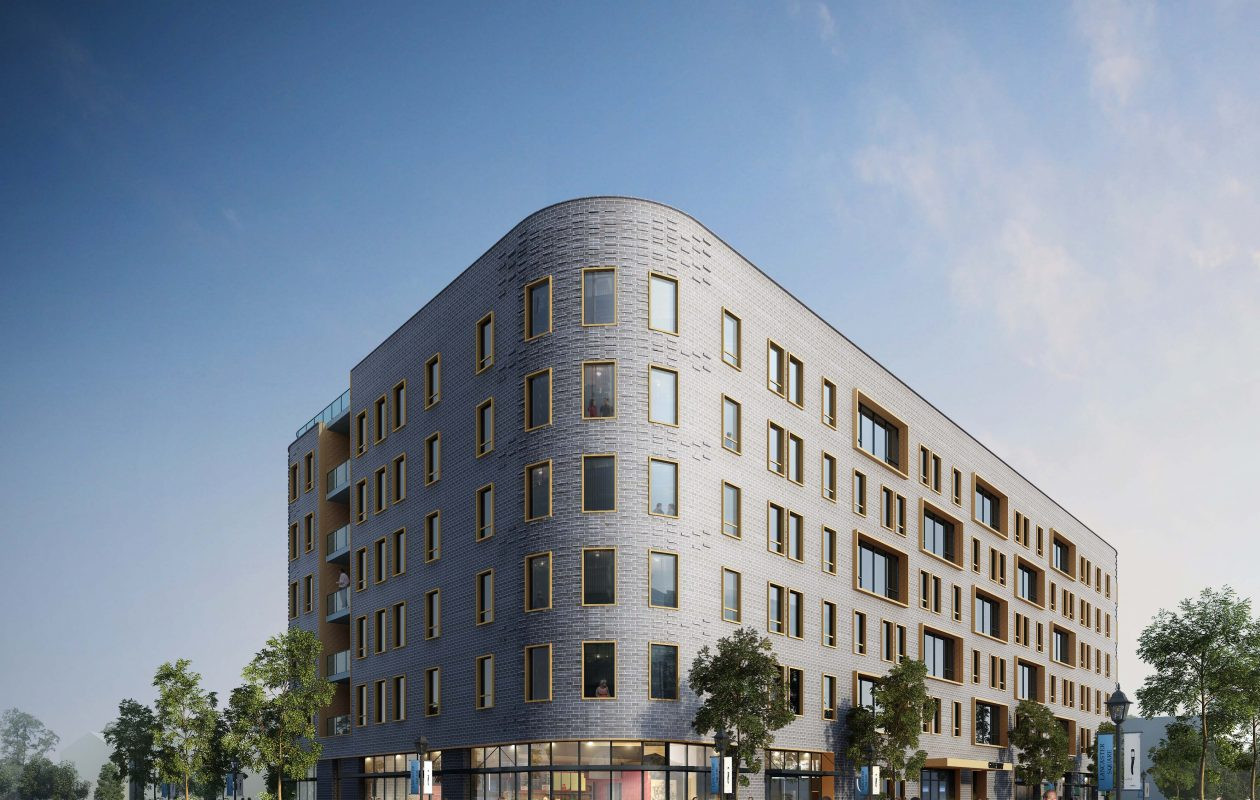 Rendering of planned six-story building at 1299 Delaware Avenue, by TM Montante and Morgan Communities.