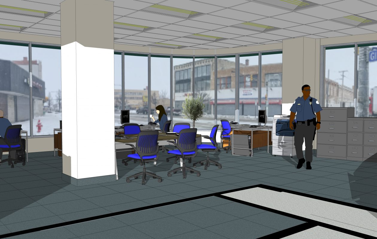 A rendering of a Buffalo Police substation slated to open in the Broadway Market this year. (Photo courtesy of the City of Buffalo)