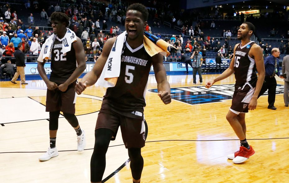 Amadi Ikpeze (32), Tshiefu Ngalakulondi (5) and LaDarien Griffin (1)5 of the St. Bonaventure Bonnies celebrate after defeating the UCLA Bruins in the First Four game in the 2018 NCAA Men's Basketball Tournament at University of Dayton Arena on March 13, 2018 in Dayton, Ohio. The Bonnies defeated the Bruins 65-58. (Kirk Irwin/Getty Images)
