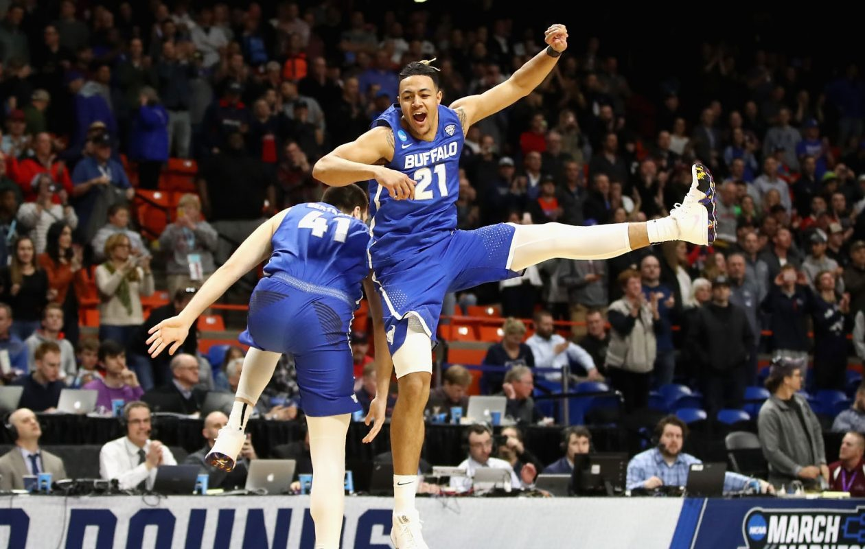 Dominic Johnson (21) of the University at Buffalo Bulls celebrates with Brock Bertram (41) in the second half against the Arizona Wildcats.Ezra Shaw/Getty Images