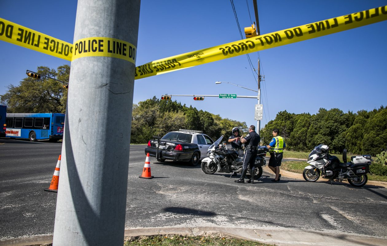 AUSTIN, TX - MARCH 19:  Police tape marks off the neighborhood where a package bomb went off on March 19, 2018 in Austin, Texas. Police are investigating the bombing which injured two and is the fourth similar bombing in three weeks in the Austin area.  (Photo by Drew Anthony Smith/Getty Images)