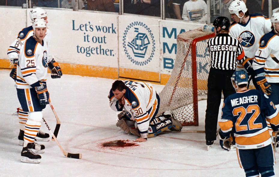 The moment of the Buffalo Sabres-St. Loius Blues game on March 22, 1989, that forever changed the life of Sabre goaltender Clint Malarchuk. (Harry Scull Jr./News file photo)