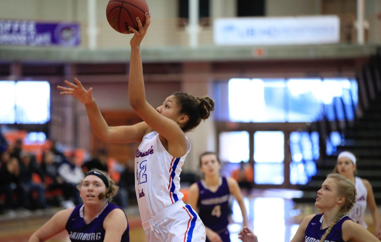 Freshman Amari DeBerry scores two of her 18 points during Williamsville South's Class A-1 title win over Hamburg Sunday. (Harry Scull Jr./Buffalo News)