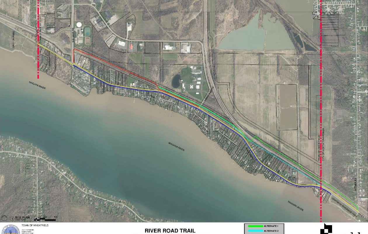The yellow line on this map shows the route selected from five alternatives for the Greenway trail in Wheatfield. (Courtesy Town of Wheatfield)