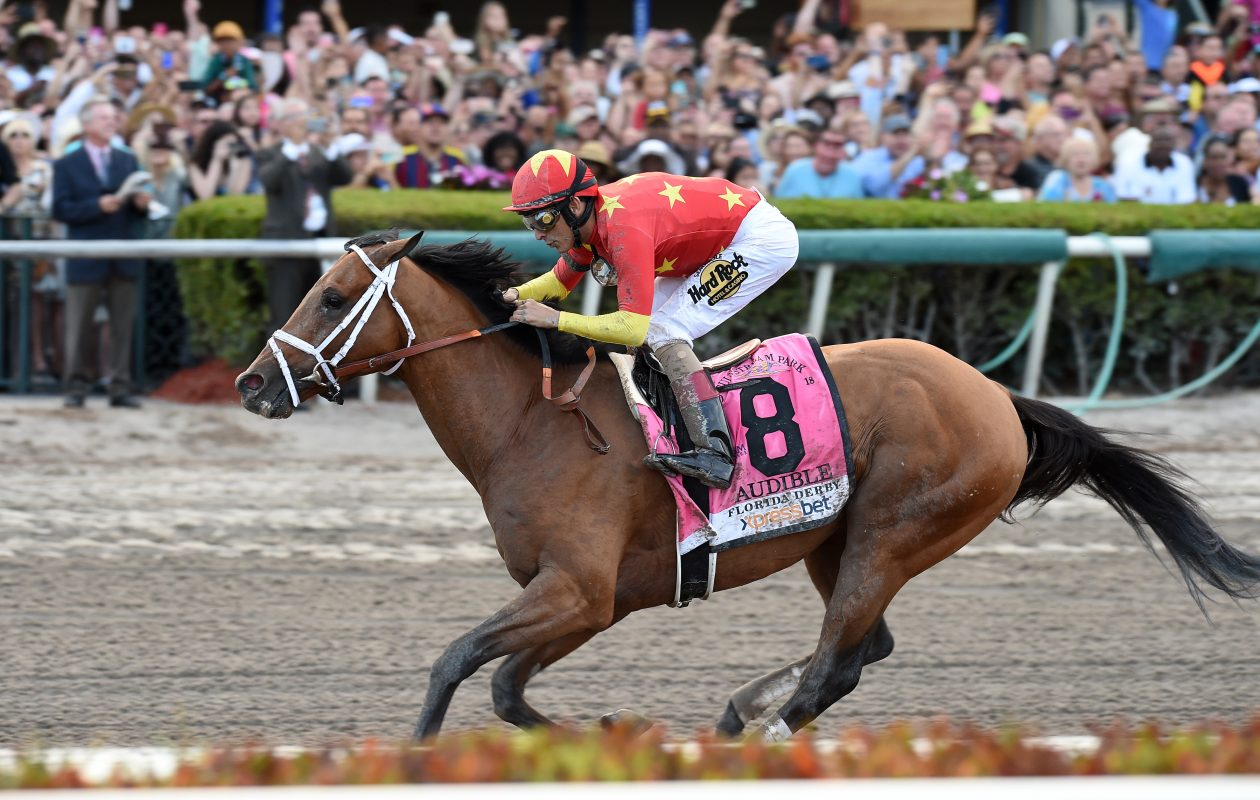 Audible, with John Velazquez up, wins the 67th running of the Florida Derby. Photo Credit: Lauren King/Gulfstream Park