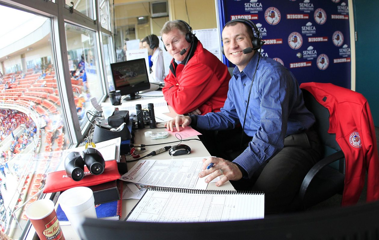 Ben Wagner, right, was promoted from the Bisons to the Blue Jays. Color analyst Duke McGuire is at left. (Harry Scull Jr./Buffalo News)