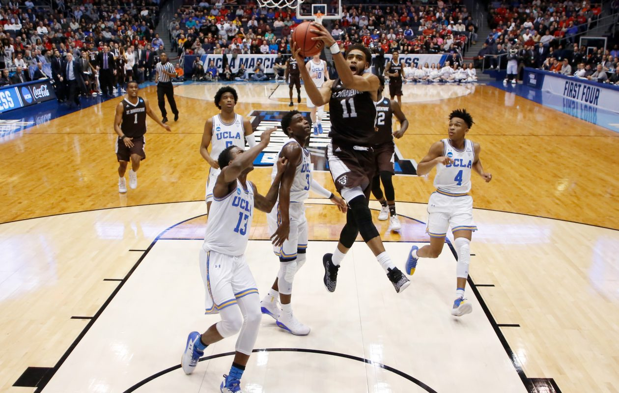 Courtney Stockard #11 of the St. Bonaventure Bonnies drives to the basket against the UCLA Bruins during the first half of the First Four game in the 2018 NCAA Men's Basketball Tournament at UD Arena on March 13, 2018 in Dayton, Ohio.  (Getty Images)