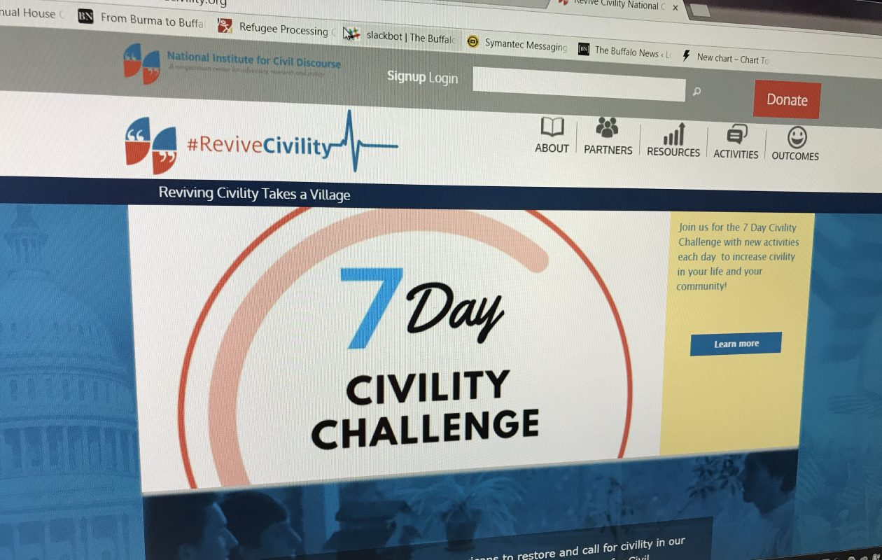 Among the offerings of the National Center for Civic Discourse is a 'Seven-Day Civility Challenge.' (Jerry Zremski/Buffalo News)
