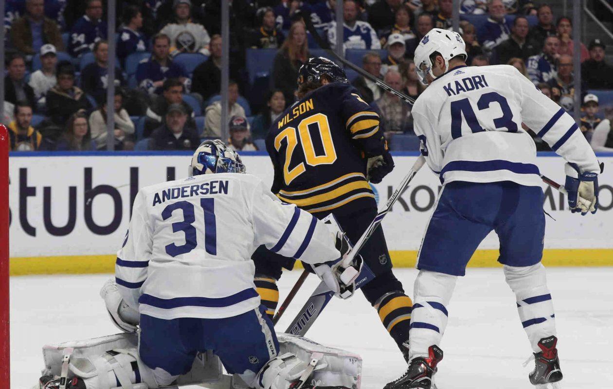 The Sabres' Scott Wilson screens Maple Leafs goaltender Frederik Andersen on a goal by Jason  Pominville. (James P. McCoy/Buffalo News)