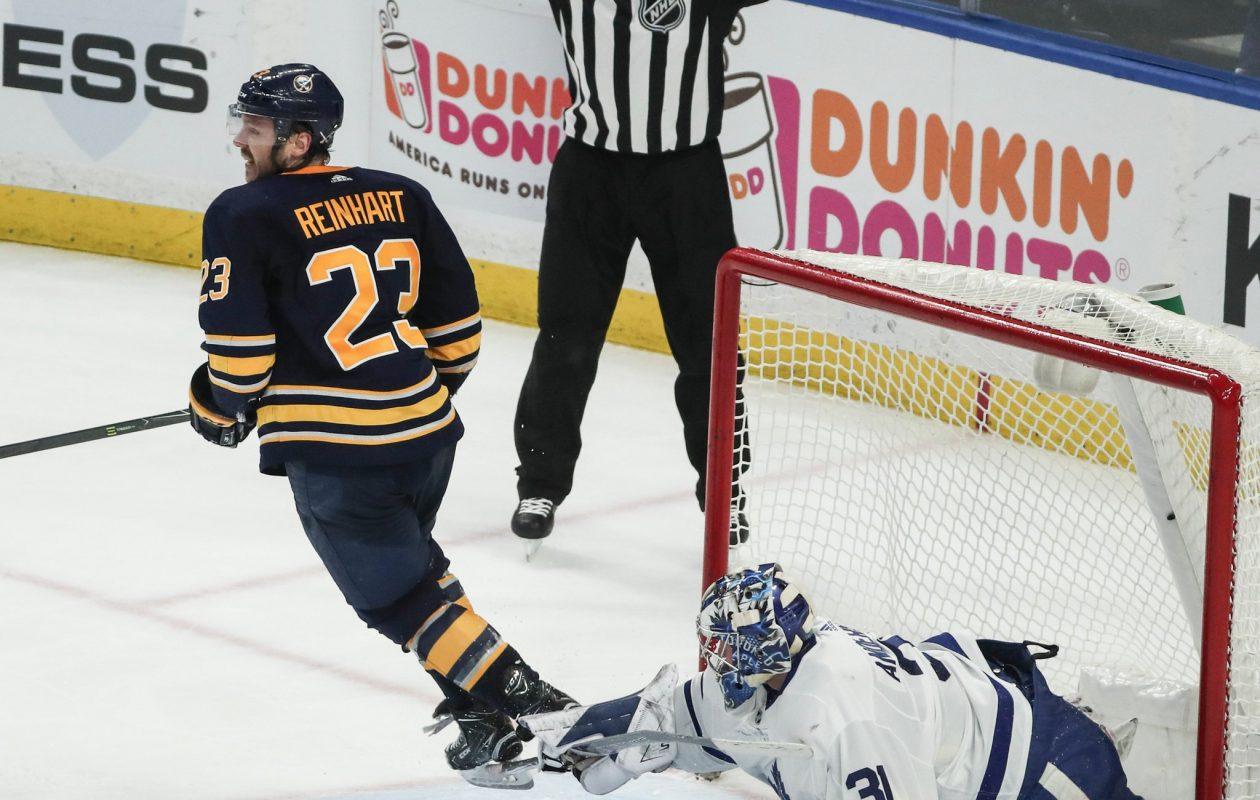 Toronto goaltender Frederik Andersen saw a lot of Buffalo's Sam Reinhart on Monday. (James P. McCoy/Buffalo News)