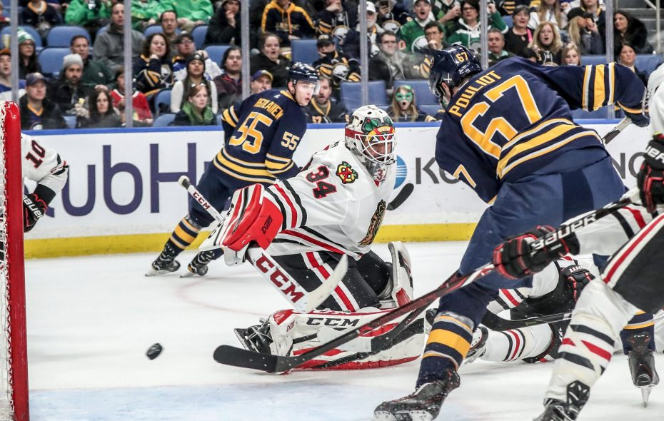The Sabres' Benoit Pouliot beats Chicago goaltender J-F Berube for his 13th goal of the year in the first period. (James P. McCoy/Buffalo News)