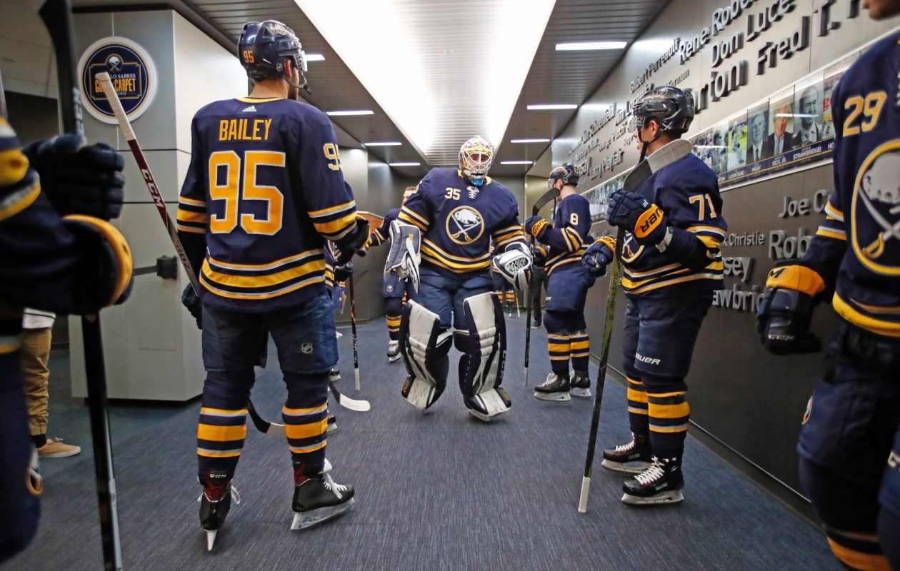 Sabres goaltender Linus Ullmark heads out for his second NHL start of the season Monday. (Harry Scull Jr./Buffalo News)