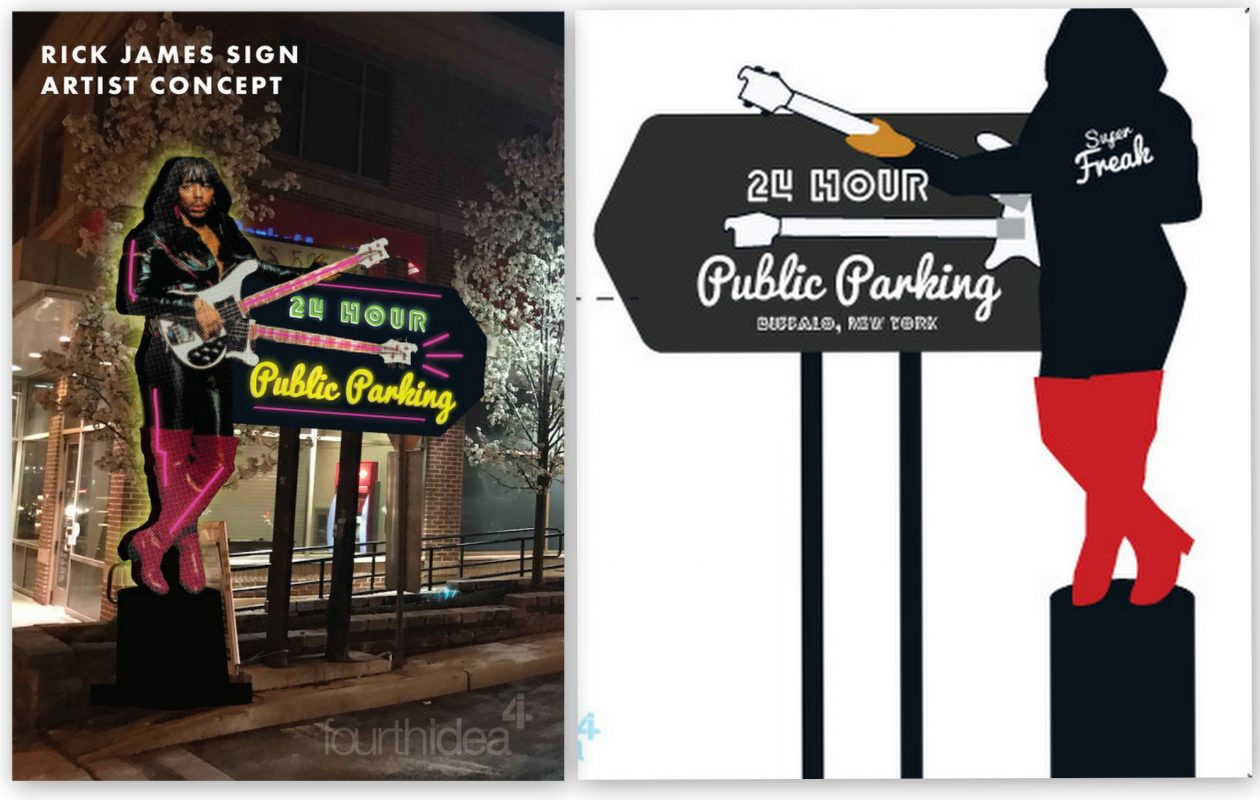 A proposal from the Buffalo advertising firm Fourth Idea envisions a neon sign featuring Buffalo-born musician Rick James.