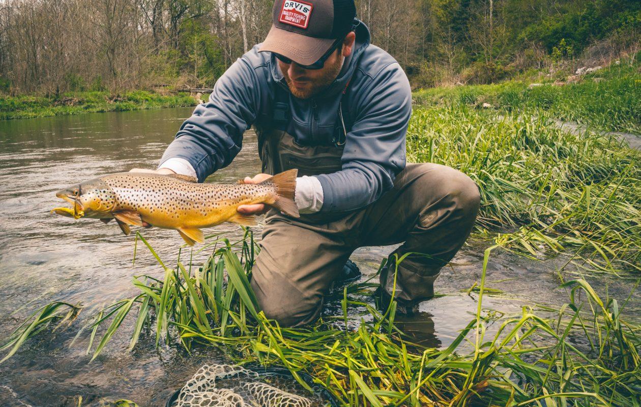 b6c1266843d Wiscoy Creek is a popular inland trout destination. Drew Nisbet shows off a  nice brown