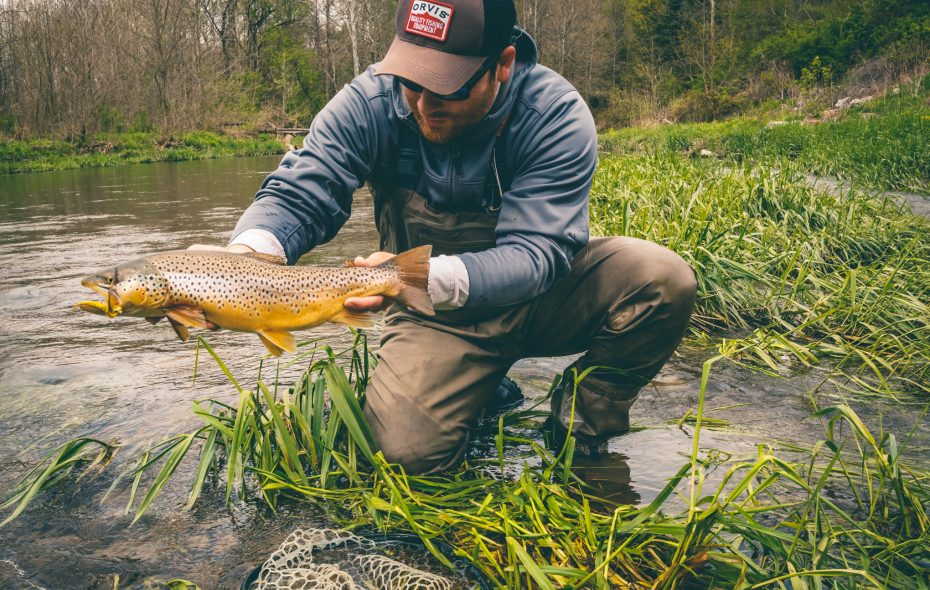 Wiscoy Creek is a popular inland trout destination. Drew Nisbet shows off a nice brown trout he caught there last spring.