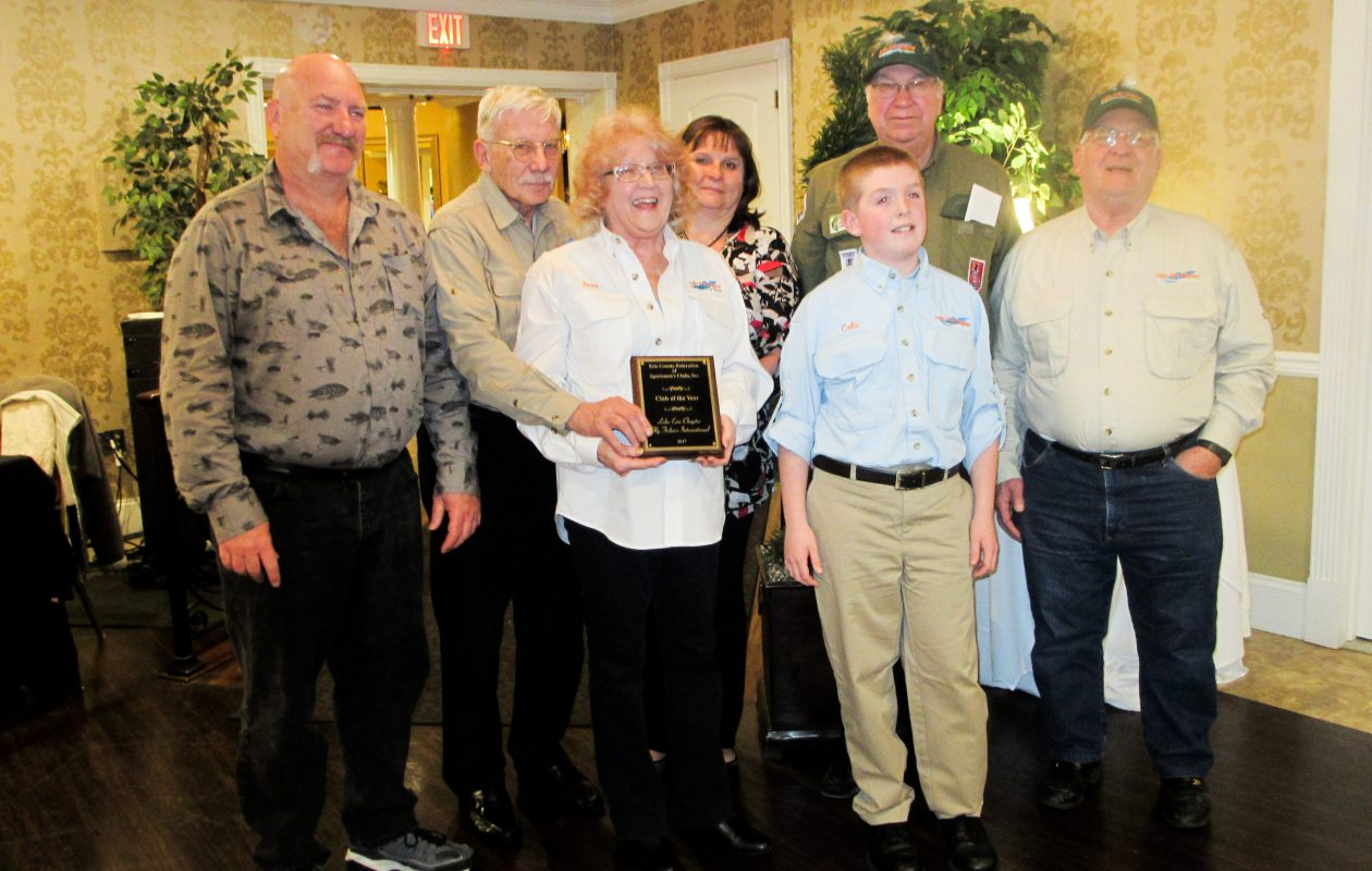 Erie County Federation of Sportsmen's Clubs -  Club of the Year Award went to the Lake Erie Chapter of Fly Fishers International. From left  are Dan Slade, Ron Ziarnowski, Joan Rosner, Nancy Schill, Cole Alexander, David Rosner, and Paul Doyka.